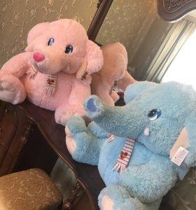 Мягкие  игрушки ,большие слонята (новые с бирками)