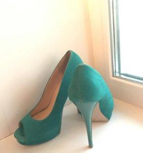 Туфли замшевые бирюзовые 37 размер