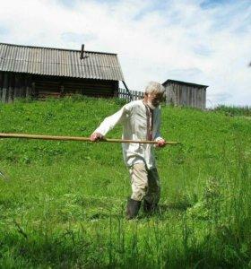 Покос травы бензокосой дачных участков