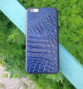 Накладка из кожи - синего цвета под крокодил