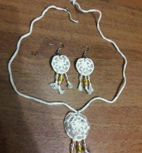 Серьги и колье (вязанные)