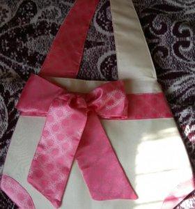 Бежевая новая сумка с розовым бантом
