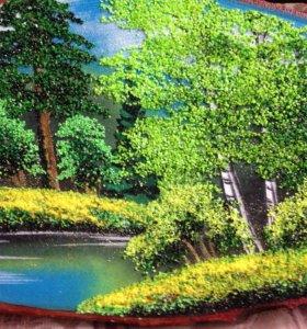 Картина на спиле дерева ручной работы