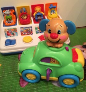 Fisher price машинка со щенком и shelcore игрушка