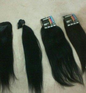 Натуральные волосы на трессе заколках