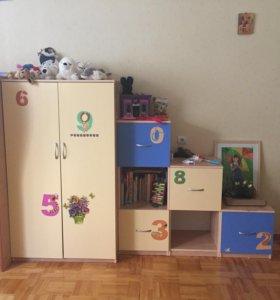 Детская кровать, шкаф, стелаж