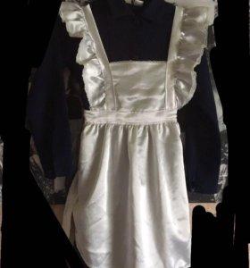 Школьная форма (платье+белый фартук)