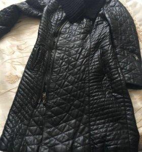 Кожаное пальто утеплённое