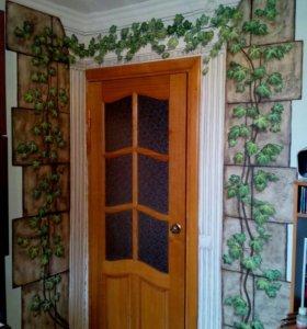 Роспись стен в 3D, рельефы, имитация камня, дерева