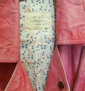 Новая розовая  кожаная куртка косуха Oui