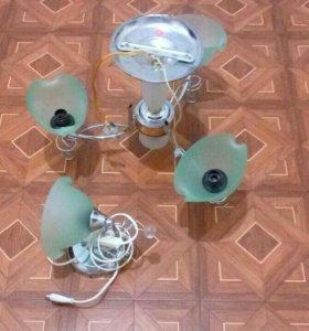 Лампа на 3 плафона+бра