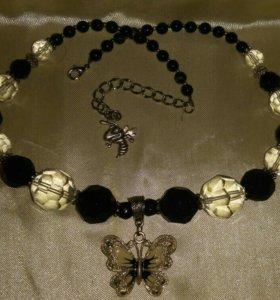 Handmade oжерелье из хрусталя и агата