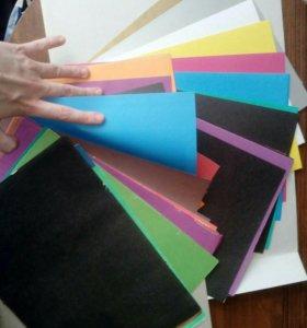Для творчества цвет. бум. и картон,пласт.,палитры