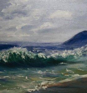 Картина маслом море