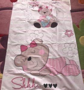 Постельное белье в детскую кроватку сатин ( новое)