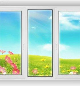 Трехстворчатое окно ELEX класса А 1350*1800мм