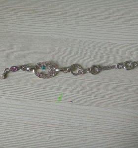 Браслет женский (серебро) на руку, длина 20см.