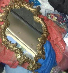 старинное зеркало в бронзе