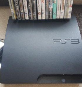 PS3 + 15 дисков и 2 джойстика