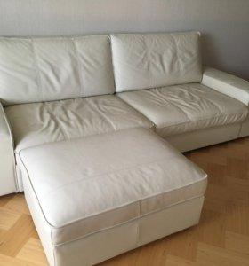 Диван-кровать кожаный Кивик Ikea+ пуф