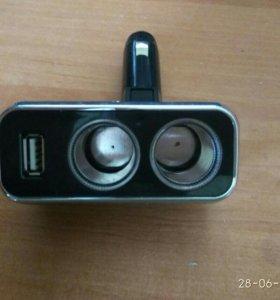 Прикуриватель с 2 розетками + USB зарядное устрой