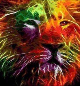 Раскраска красками Неоновый лев