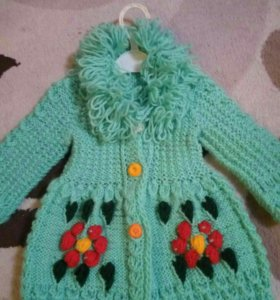 Вязаное пальто (кардиган),размер 74-80