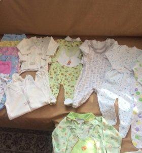 Большой пакет одежды на девочку 0-3 месяца
