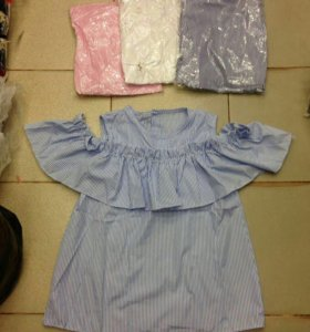 Новые блузы оборки полоска рубашка женская