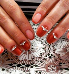 Покрытие ногтей гель- лаком(шеллаком),наращивание