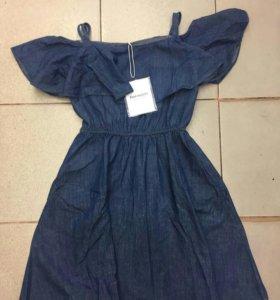 Новое платье сарафан джинс деним женское оборки