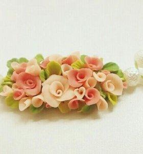 Кулон с розами (ручная работа)