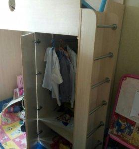Кровать детская чердак со шкафом