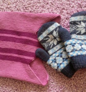 Шапка и рукавицы 2-3 года
