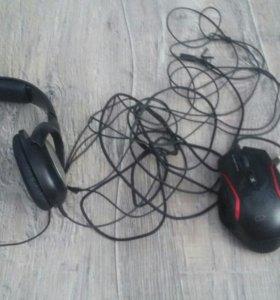 Наушники Sennheiser HD-180 и Игровая Мышь Genius