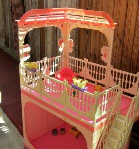 Двухэтажный дом для кукол + мебель