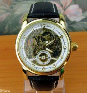 """Часы """"Orkina"""" золотисто белые, черный ремешок"""