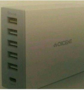Зарядное устройство 5 портов usb + Type C