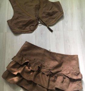Костюм замшевый (жилетка+юбка)