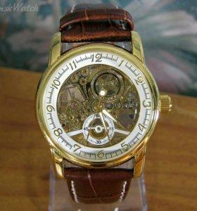 """Часы """"Orkina"""" золотисто белые, коричневый ремешок"""