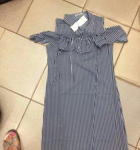 Новое платье сарафан полоска оборки рюши