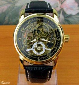 """Часы """"Orkina"""" золотисто черные, черный ремешок"""