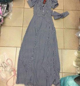 Новое платье сарафан полоска оборки рюши длинное