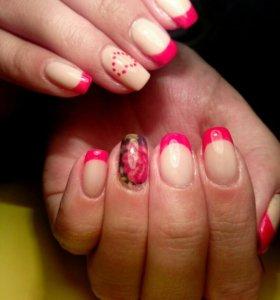 Маникюр, Гель лак. Красота ногтей.