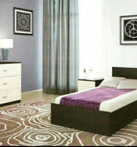 Кровать односпальная +комод и тумба