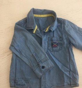 Джинсовая рубашка M&S, 1-1,5 года
