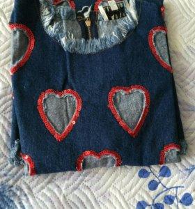 Джинсовое платье с пайетками (в комплекте сорочка)