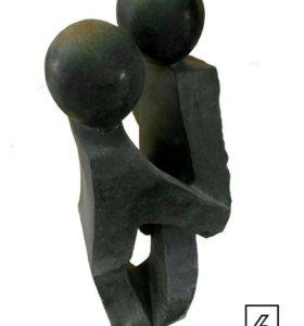 """Африканская статуя """"Черная пара"""""""