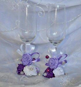Свадебные бокалы, подушечки, подвязки, свеча