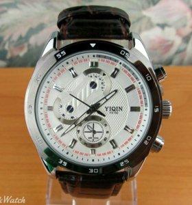 Yiqin - мужские кварцевые часы, белые